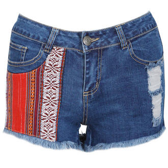 View Item Aztec Patch Distressed Denim Shorts